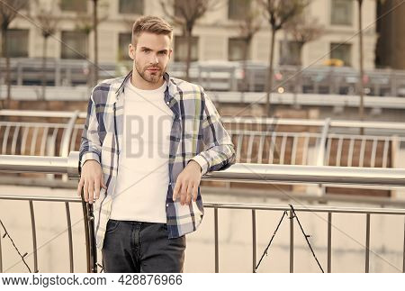 Casual Summer Wear. Handsome Guy In Casual Style Urban Outdoors. Casual Wardrobe. Menswear Store. Fa