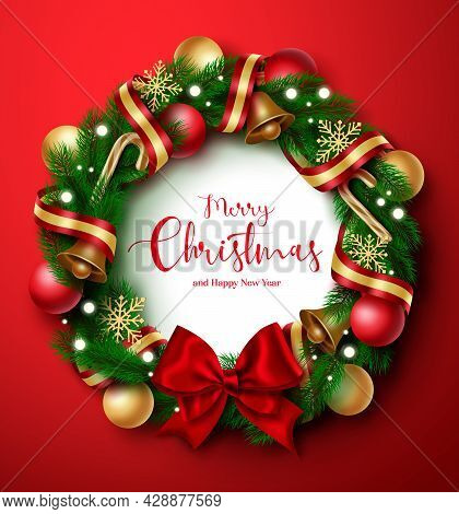 Christmas Wreath Vector Design. Merry Christmas And Happy New Year Greeting Text In Wreath Fir Branc