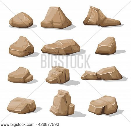 Cartoon Brown Rock Stones And Boulders, Vector Rubble Gravel And Cobble Icons. Rock Stones Or Debris