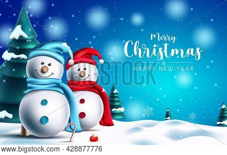 Christmas Snowman Vector Design. Merry Christmas Greeting Text With Snow Man Characters And Pine Tre