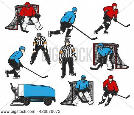Ice Hockey Players Icons And Sport Rink Equipment, Vector. Ice Hockey Player Goaltender At Gates Goa