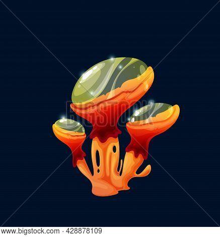 Fantasy Magic Jelly Mushroom With Toxic Poisonous Cap, Vector Cartoon Icon. Toxic Toadstool, Amanita