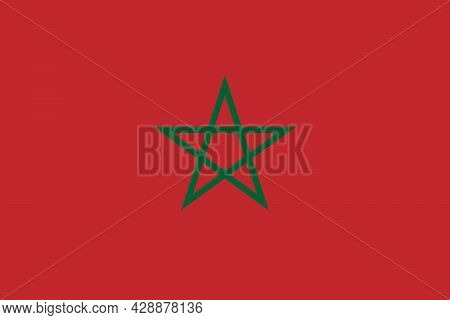 National Flag Of Morocco Original Size And Colors Vector Illustration, Kingdom Of Morocco Flag, Gree