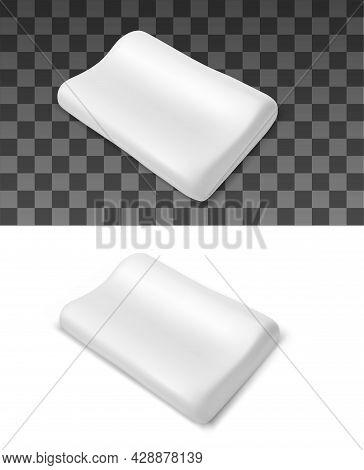 Orthopedic Pillow With Anatomical Shape Pad Realistic Vector Mockup. Rectangular Foam, Gel Or Latex