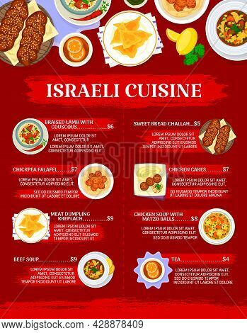 Israeli Cuisine Restaurant Menu Vector Template. Meat And Vegetable Dishes, Jewish Bread Challah. Ch