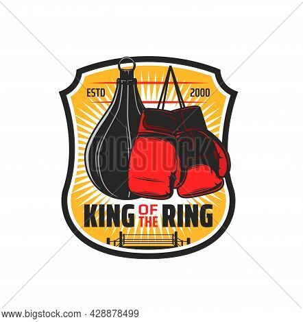 Boxing Sport Icon, Kickboxing Club And Mma Martial Arts Vector Emblem. Box Or Muay Thai Wrestling Sp