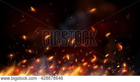 Campfire, Fireplace Flying Sparks, Burning Flame Red Hot Sparks. Realistic Vector Fire With Particle