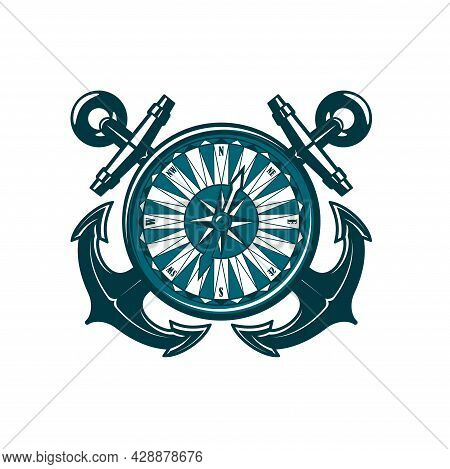 Heraldic Icon With Crossed Anchors And Compass, Vector Nautical Heraldry And Sea Travel. Sail Ship O