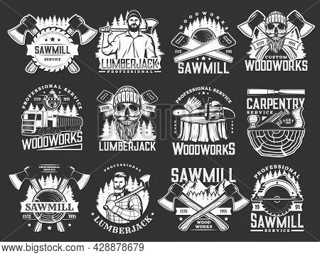 Lumberjack, Woodworks, Carpentry And Sawmill Vector Icons With Logger Or Woodcutter Men, Axes And Fo