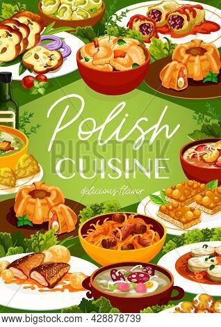 Polish Cuisine Restaurant Poster. Dumplings, Meat Bread And Sausages, Meatloaf Ring With Quail Eggs,