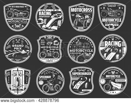 Motorcycle And Car Racing Retro Icons, Motorsport Road Race Team Vector Badges. Speedway Cup, Custom