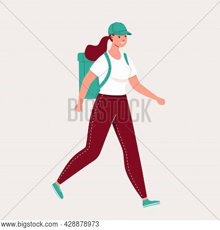 Delivery Vector Illustration. Courier Service. The Courier Girl Carries Food To Order