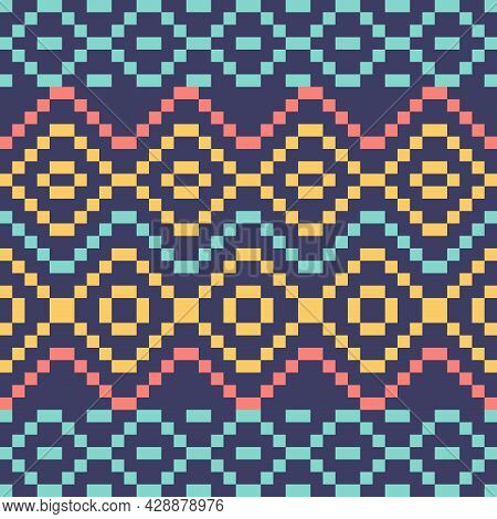 Ethnic Pattern, Ikat, Tribal Seamless Pattern. Geometric Fabric Pattern Design For Tribal Embroidery