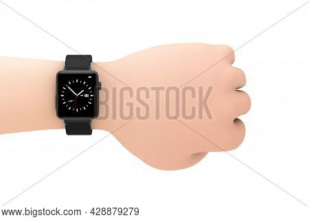 Black Modern Smart Watch Mockup And Strap Closeup On The Wrist Of Cartoon Hand On A White Background