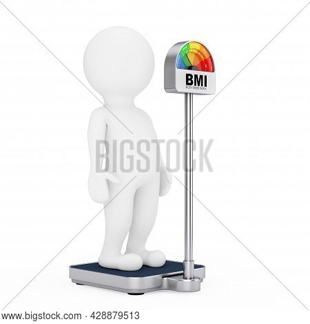 3d Character Person On A Medical Weight Control Floor Scale With Bmi Or Body Mass Index Scale Meter