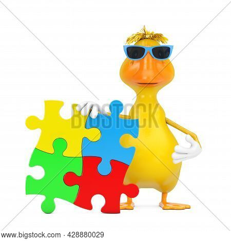 Cute Yellow Cartoon Duck Person Character Mascot With Four Pieces Of Colorful Jigsaw Puzzle On A Whi
