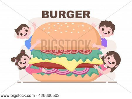 A Child Is Eating Fast Food Background Vector Illustration With Foods For Burger, Pizza, Donuts, Fre