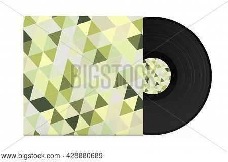 Old Vinyl Record Disk In Abstract Multicolored Paper Case On A White Background. 3d Rendering