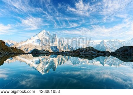 Incredible View Of Clear Water And Sky Reflection On Lac Blanc Lake In France Alps. Monte Bianco Mou
