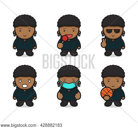 Set Of Cute Curly Boy Wear Hoodie With Different Poses Cartoon Vector Icon Illustration. Design Isol