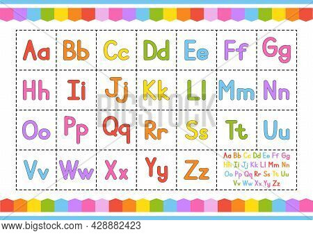 English Alphabet. Vector Set. Bright Color Style. Cartoon Abc. Funny Hand Drawn Font. Lowercase And