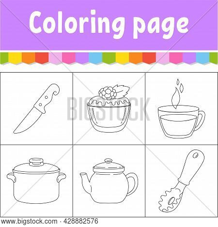 Dishware Theme. Coloring Book Page For Kids. Cartoon Style. Vector Illustration Isolated On White Ba