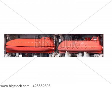 Offshore Life Boat Or Survival Craft At Muster Station Of Oil And Gas Drilling Rig.