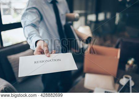 Businessman Sending And Showing Resignation Letter To Employer Boss. Quitting A Job, Businessman Fir