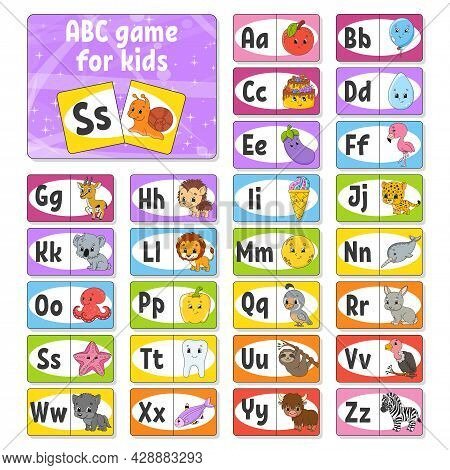 Set Abc Flash Cards. Alphabet For Kids. Learning Letters. Education Developing Worksheet. Activity P