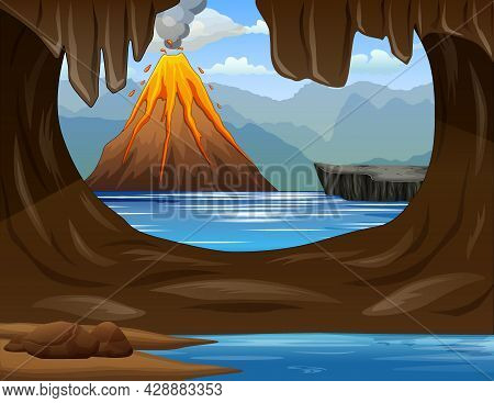 Illustration Of Cave Facing The Sea With Erupting Mountains In The Background
