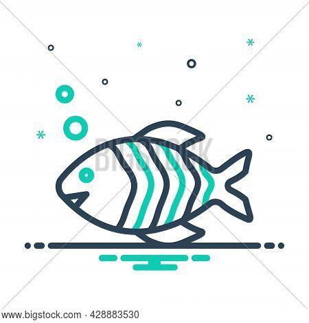 Mix Icon For Fish Animal Aquarium Seafood Fauna Aquatic Aqueous