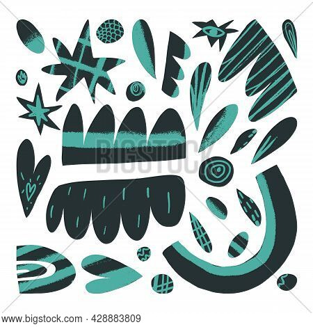 Cute Abstract Shapes Set, Figures With Neon Texture, Modern Design Elements Collection. Vector Hand-