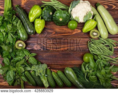 Protein Source For Vegetarians. Green Vegetables On Rustic Wooden Table. Composition With Healthy Ve