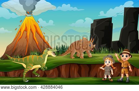 Cartoon Of Zookeepers And Dinosaurs With Volcano Eruption Landscape