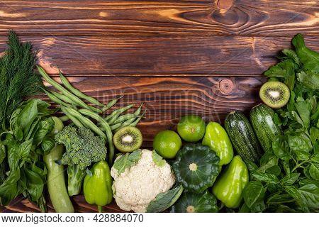 Green Vegetable Frame. Healthy Diet Food. Organic Produce. Top View Of Healthy Food Clean Food: Fram