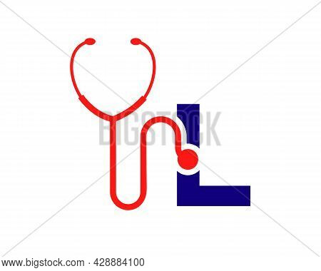 Health Care Logo With L Letter Concept. Stethoscope Logo L Letter Concept. Phonendoscope Logotype