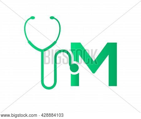 Health Care Logo With M Letter Concept. Stethoscope Logo M Letter Concept. Phonendoscope Logotype
