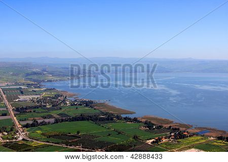 View of the sea of Galilee (Kineret lake) from Arbel mountain, Israel poster