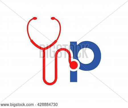 Health Care Logo With P Letter Concept. Stethoscope Logo P Letter Concept. Phonendoscope Logotype