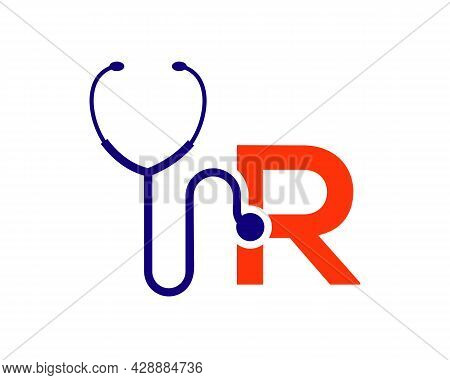 Health Care Logo With R Letter Concept. Stethoscope Logo R Letter Concept. Phonendoscope Logotype