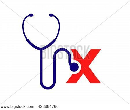 Health Care Logo With X Letter Concept. Stethoscope Logo X Letter Concept. Phonendoscope Logotype
