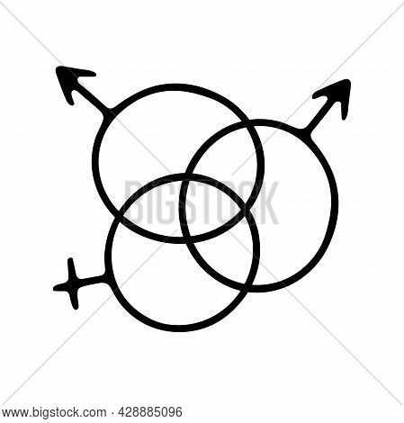 Doodle Gender Symbols. Outline Male And Female Signs Isolated On White Background. Man And Woman Lov