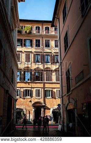 Rome, Italy - October 2019: View Of Small Alley Of Vicolo Del Curato Towards Street Of The Bank Of T
