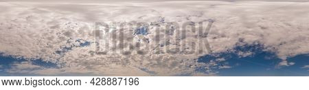 Blue Sky Panorama With Cumulus Clouds. Seamless Hdr 360 Degree Pano In Spherical Equirectangular For