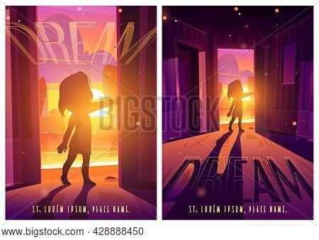 Door To Dream Cartoon Posters With Little Baby Silhouette Stand In Doorway With Beautiful Dusk Seasc