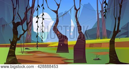 Autumn Forest Landscape With Naked Bare Trees, Lianas And Mountains. Nature View With Rocks And Wood