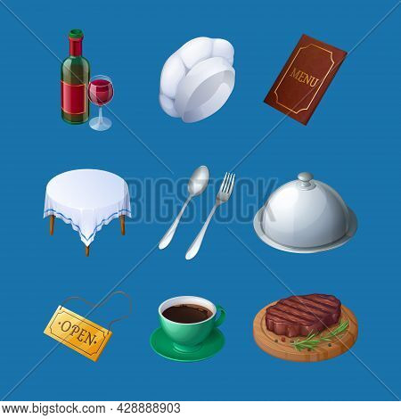 Restaurant 3d Icons Wine Bottle, Glass, Chef Toque, And Menu, Table With Tablecloth, Fork Or Spoon A