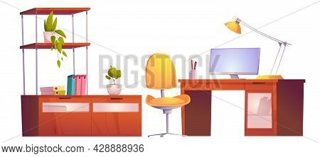 Office Or Home Workplace With Desk, Monitor, Chair And Bookcase. Vector Cartoon Set Of Furniture For