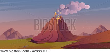 Landscape With Volcanic Eruption. Vector Cartoon Illustration With Mountains, Green Grass And Volcan