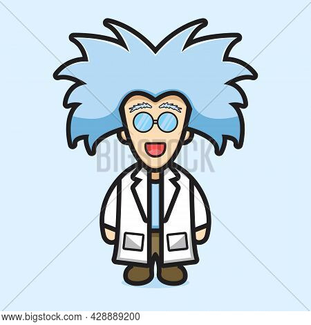Cute Professor Scientist Wear Glasses Cartoon Vector Icon Illustration. Profession Icon Concept Isol